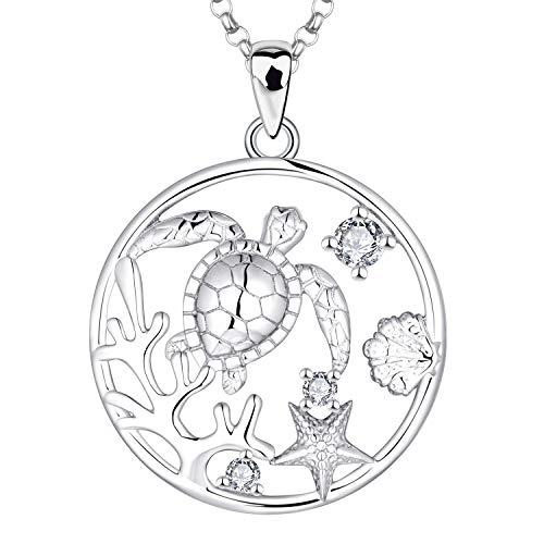 JO WISDOM Collar Tortuga de Plata de ley 925 Mujer,Colgante Coral Mejillón Estrella de Mar Vida Marina con Cadena con 3A Circonia,Joyas del Océano