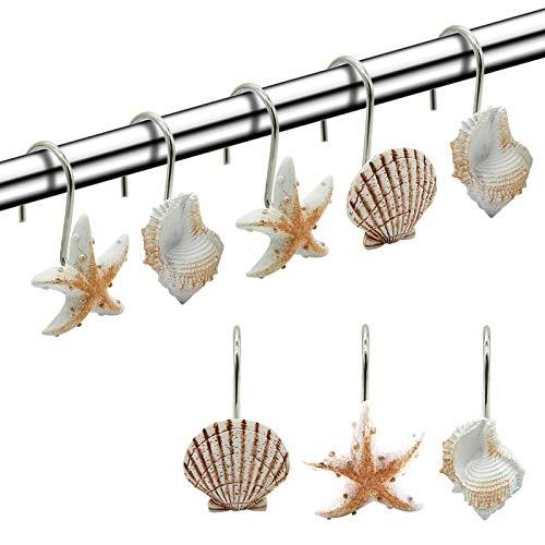 FINROS Seashell Shower Curtain Hooks,12PCS Anti Rust Decorative Resin Hooks for Bathroom, Baby Room, Bedroom, Living Room Decor (Light Brown Seashell)