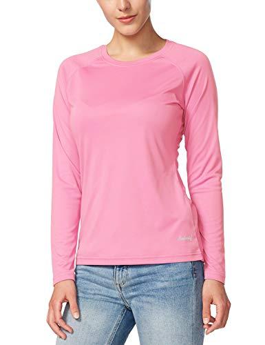 BALEAF Women's Long Sleeve Shirts UPF 50+ Sun Protection SPF Quick Dry Lightweight T-Shirt Outdoor Hiking Runing Fishing Pink Size M