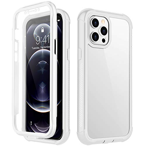 RedPepper Compatible with iPhone 12 Pro Max Case, Built-in Screen Protector Heavy Duty Full Body Rugged Shockproof Clear Case for iPhone 12 Pro Max 6.7 Inch 2020 (White/Clear)