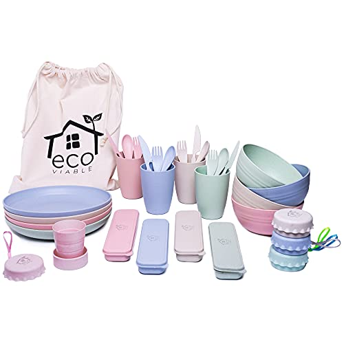 ECO VIABLE Wheat Straw Dinner Set - (36pcs) Eco Friendly, Lightweight, Strong, Microwave & Dishwasher Safe – Large Dinner Plates, Cups, Bowls, Cutlery & Canvas Bag – Picnics, Day Out