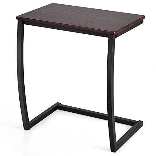 Tangkula Couch Table Sofa Side C Table, C-Shaped End Table with Steel Frame, Snack Table TV Tray Table, Portable Side Table for Bed Sofa Living Room Bedroom