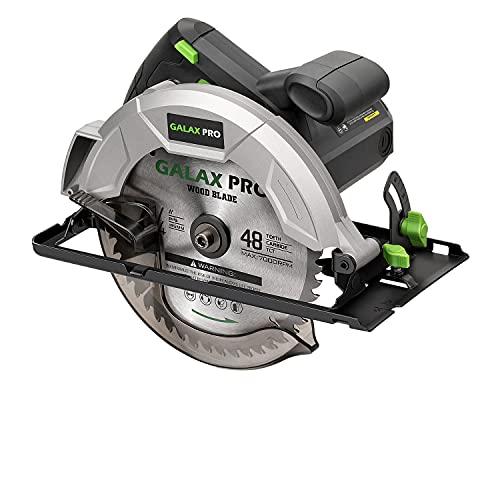 GALAX PRO Kreissägen, Handkreissäge 1200W 5800RPM, Fasenwinkel (0 bis 45°) Fugenschnitte mit 185mm Klinge, Einstellbare Schnitttiefe für Holz- und Holzschneiden-GP76331