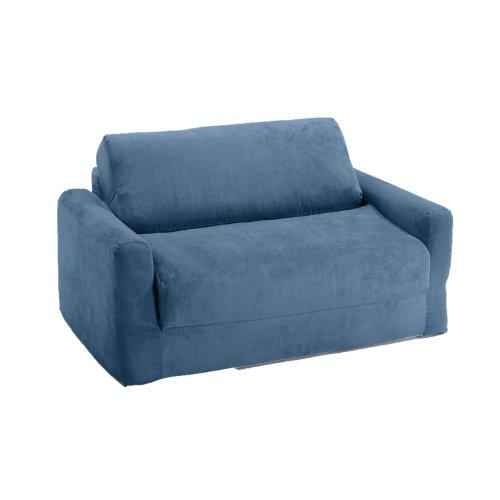 Fun Furnishings Sofa Sleeper, Blue Micro Suede