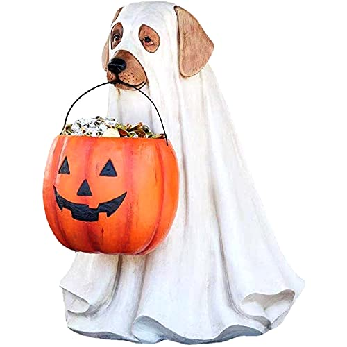 Estatuas creativas de gato y perro fantasma de Halloween con soporte para dulces de calabaza, cuenco, cubo, adorno de resina, decoracin de fiesta de truco o trato