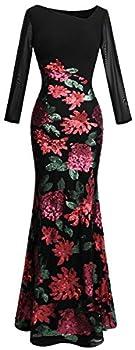 Angel-fashions Women s Long Sleeve Rose Pattern Sequin Black Formal Dress Large