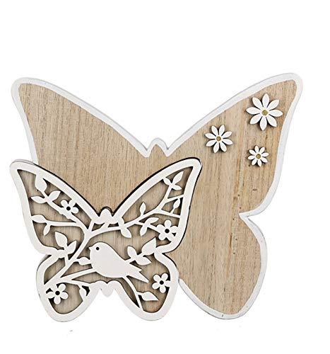 dekojohnson Deko-Schmetterling Holzschmetterlinge mit Vogel Standdeko Osterdeko Zimmerdeko zum Stellen Frühlingsdeko weiß Natur 20x3x16cm