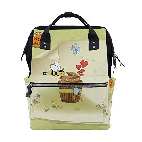ALINLO Verjaardagskaart Bijen met Cake Luiertassen Mummy Tassen Grote Capaciteit Multi-Functie Rugzak voor Reizen