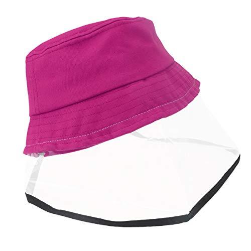 Artibetter 2 Pz Cappello Protettivo di Sicurezza Visiera a Pieno Facciale Visiera Saliva Prevenzione Sputi Guardia Viso Cappello da Pesca Antipolvere per Bambini Esterno 52 Cm Staccabile Roseo