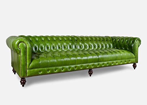 JVmoebel XXL - Divano Chesterfield, 240 cm, imbottito, divano a 4 posti, in pelle e tessuto, #275