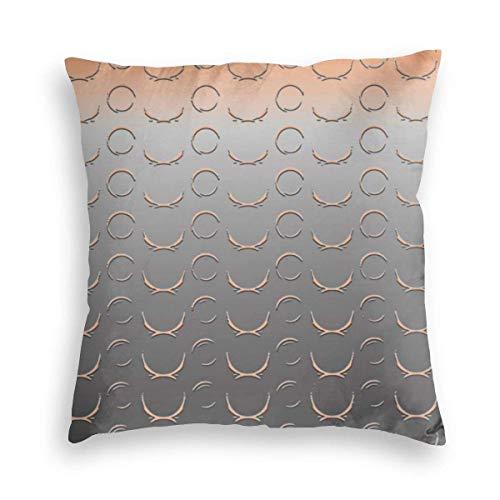 MayBlosom Broken Circle Art Deco Grey Peach Velvet Soft Decorative Square Throw Pillow Covers Cushion Case Pillowcases for Sofa Chair Bedroom Car 18X18inch