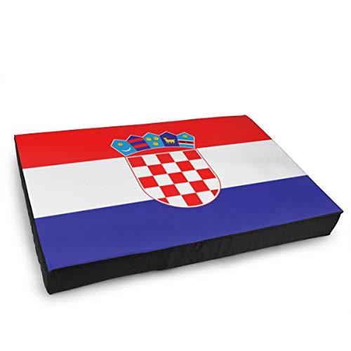 Jacklee Hond Kat Bed met Orthopedisch Schuim en Wasbaar Anti-slip Cover, Vlag Van Kroatië