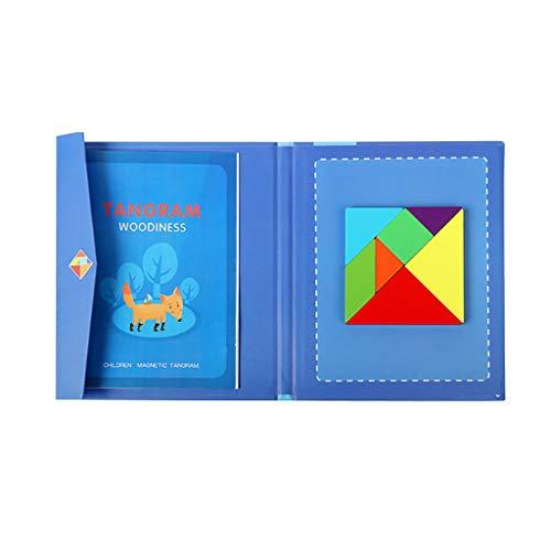 DressLksnf Niños Rompecabezas de Tangram MagnéTico de Madera Juego de Viaje Libro Educativo Juguetes para Niños Juguete de Rompecabezas de Tangram para Niños