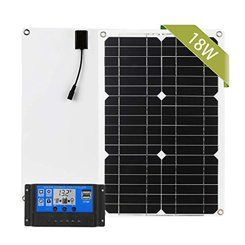 FACAIA 12V 18W Solar Panel Set Pv Solar Module with Solar Cell Charge Controller SAE Connection Cable Kits Off Grid Monocrystalline Module [Dual USB Port & Controller]