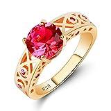 QiXuan 18K bañado en Oro con topacio Arco Iris y turmalina Rosa Anillo de Piedras Preciosas Vintage