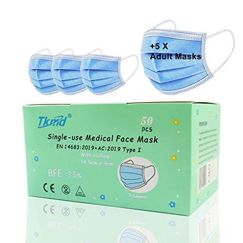 Medical Kids Face Mask EN14683 Type I 3-lagig Medizinische Einweg-Schutzmasken für Kinder Kindermasken 50 Stück BFE 95% geprüft von TÜV SÜD Blau+5 Gratis OP Masken TYP I