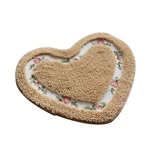 Aisumi Pastoralen Stil Liebe Herzform Teppich Rose Blumenmuster Aushöhlen Schlafzimmer Bodenmatte