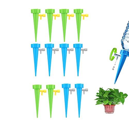 Sistema de Riego por Plantas Kit, 12 Piezas Plástica Sistema de Riego Automático por Goteo Ajustable Dispositivo de Riego, con Válvula de Control de Liberación , para Bonsáis y Flores(Azul, Verde)