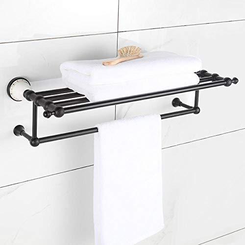 Cuarto de baño Toalla Toalla Aseo Montaje de pared Toalla Soporte Espacio Aluminio Estante De Cerámica Colgante-3