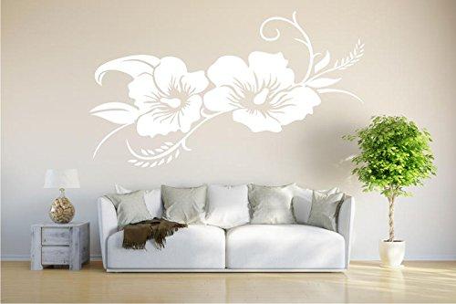 INDIGOS UG - Wandtattoo Wandsticker Wandaufkleber Aufkleber - Hibiskusblüte - Hibiskus - 80cm x 42cm weiß - Büro Wohnzimmer Hotel Küche Dekoration