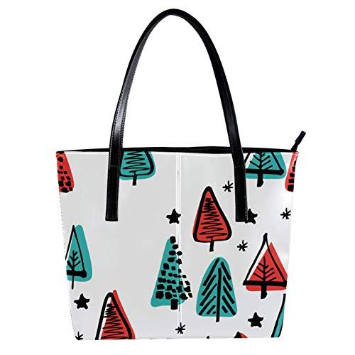 Lorvies Skandinavischer Weihnachtsbaum, Umhängetasche, PU-Leder, Handtasche für Damen