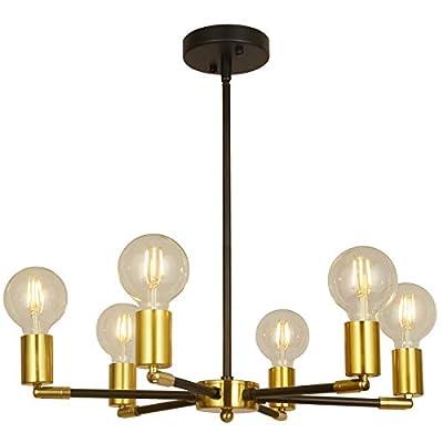 BAODEN 6 Lights Fixture Modern Black & Brass Sputnik Chandelier Mid Century Pendant Light Industrial Semi Flush Mount Hanging Lamps for Dining Bedroom Kitchen Lighting