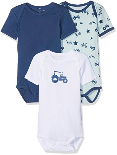 NAME IT Baby-Jungen NMMBODY 3P SS NOOS Body, Mehrfarbig (Ensign Blue), 80 (3er Pack)