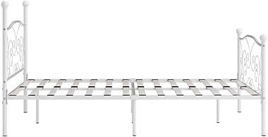 FAMIROSA Cadre de Lit et Sommier à Lattes Blanc Métal 120 x 200 cm