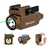 OLIGHT Baldr S 800 Lumens Compact Rail Mount Weaponlight with Green Beam and White LED Combo, Magnetic USB Rechargeable Tactical Flashlight with 1913 or GL Rail, Battery Included(Desert Tan)