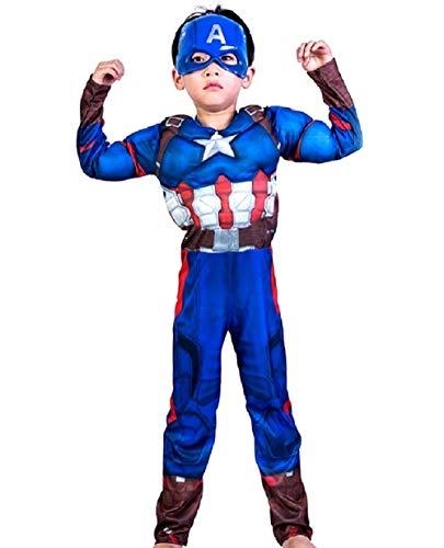 Lovelegis Disfraz de capitn amrica para nios - superhroe y mscara - Torso musculoso - Disfraz - Carnaval - Halloween - Cosplay - Accesorios - Talla m - 5/6 aos