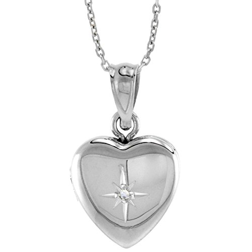 Very Tiny 1/2 inch Sterling Silver Diamond Heart Locket Necklace for Girls 16 inch RL_30H