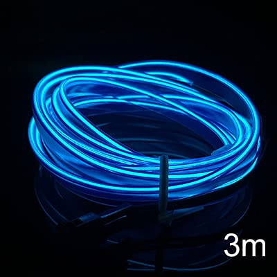 3M Línea de Coche Frío Luces de Coche 12V Coche LED Neón El Alambre Coche Frío Luz Frío Decoración Interior Decoración Moldura Tiras de ajuste (Emitting Color : 3M blue)