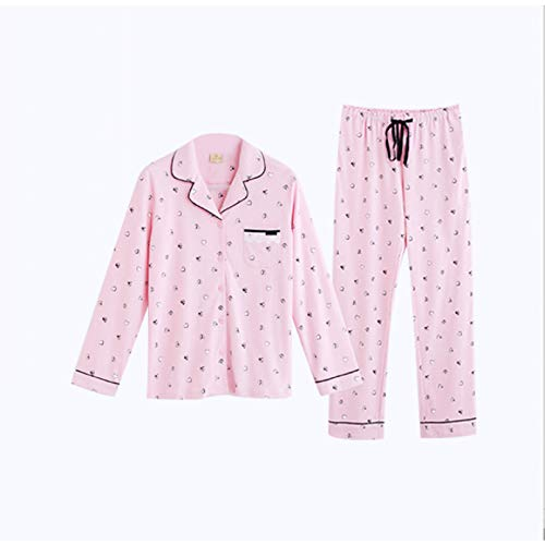 FLORVEY Pijama Dulce Casual Coreano otoño Suelto Manga Larga Moda Pantalones señoras Homewear melocotón Estampado Fruta Conjunto de Pijamas