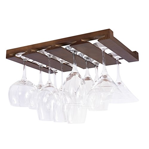 Rustic State 4 Sectional Under Cabinet Wood Stemware Rack 12...