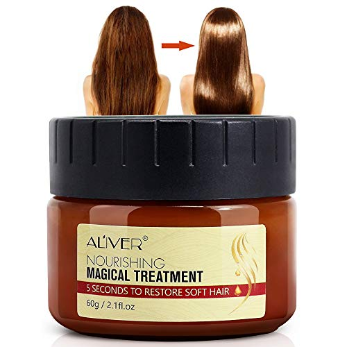 Magical Keratin Hair Treatment Mask, Repairs Damage Restore Soft Hair Care 5 Seconds Repairs Damage Hair Root, Deep Conditioner Suitable for Dry & Damaged Hair-60ml