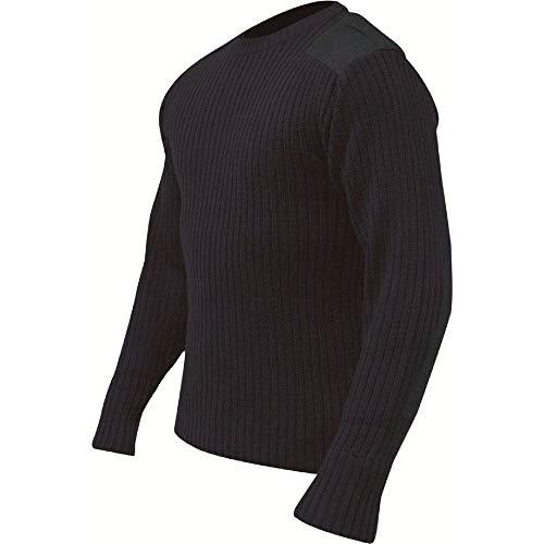 Highlander stile militare pullover–navy blu rinforzate sulle spalle e gomiti