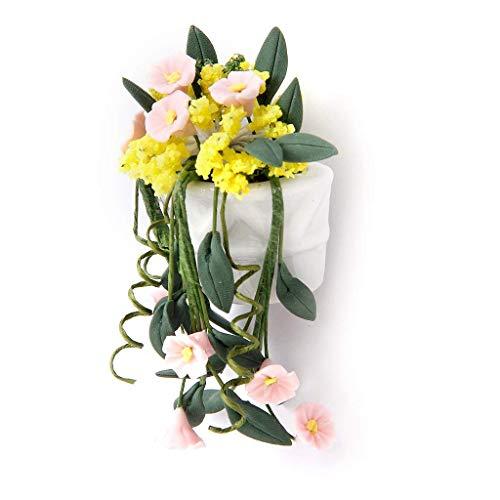 Mini Colgar de la Pared del florero de 1:12 casa de muñecas en Miniatura Ornamento Planta Jardín de Accesorios Colgantes Cesta de la Flor Pot