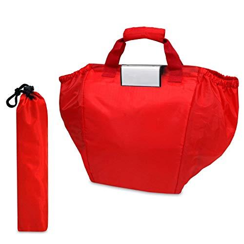 achilles Easy-Shopper, Faltbare Einkaufswagentasche, Einkaufstasche passend für alle gängigen Einkaufswagen, Tasche in rot, 54x35x39 cm