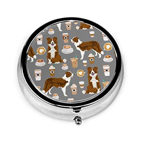 Round Pill Case/Box, Coffee Cafe Dog Portable Medicine Tablet Vitamin Organizer for Purse Pocket Travel Gift (Coffee Cafe Dog)