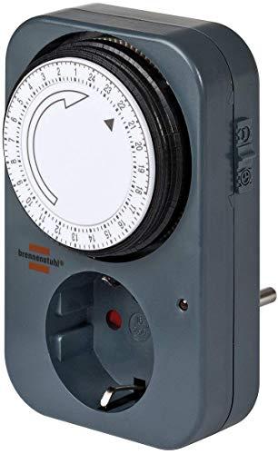 Brennenstuhl Zeitschaltuhr MZ 20, mechanische Timer-Steckdose (Tages-Zeitschaltuhr mit erhöhtem Berührungsschutz) grau