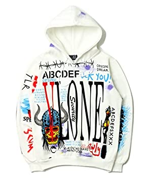 Fashion Trendy Vlone Personality Hip-hop Graffiti Printing Casual Plus Velvet Men s Hoodie Couple Pullover Top  White,XX-Large