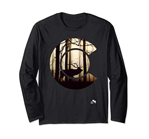 Colorado Flag Logo Elk Hunting Long Sleeve T-Shirt