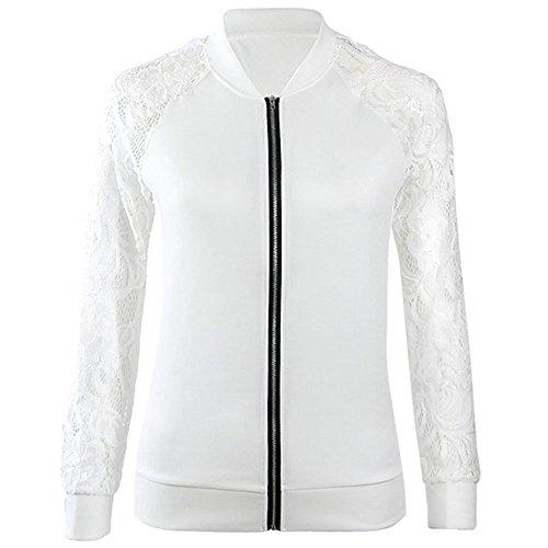 Binglinghua® Womens Ladies Biker Celebrity Lace Sleeve Bomber Jacket Coat Outwear (White, L)