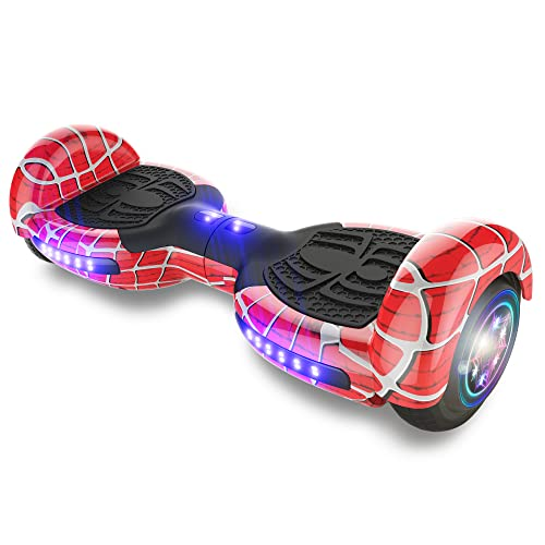 """TPS Power Sports Hoverboard Self Balancing Scooter for Adults and Kids 300W Dual Motor 6.5"""" Wheels Bluetooth Speaker LED Lights Self Balance Hoverboards Great Gift UL2272 Certified (Red)"""