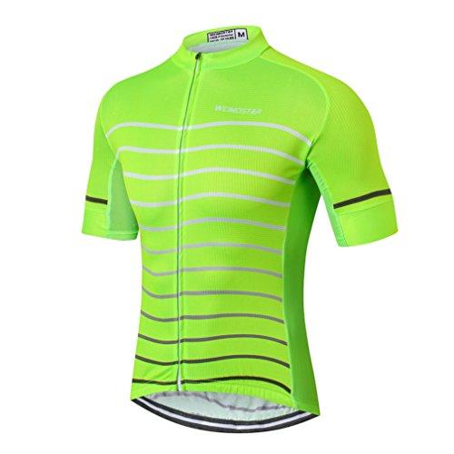 Weimostar Men's Cycling Jersey Men 2018 Mountain Bike Jerseys Short Sleeve Tops Lycra Cuff (Green 2# XL)