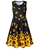 BFUSTYLE Girls Summer Dress for Size 10 13 Birthday Gift Niece Kawaii Dance Prom Gown Yellow Floral Pattern Fashion Dresses for School Little Sister Casual Bedroom Sundress 10-13 Years Old