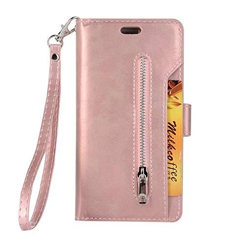 KKAAVV Flip Wallet Cover Case para aIPhone 11 Pro X XS XR MAX 6 S 7 8 Plus 5 5S SE 2020 Titular de la Tarjeta Monedero Cremallera Cubierta Trasera del teléfono, Oro Rosa, para iPhone 11
