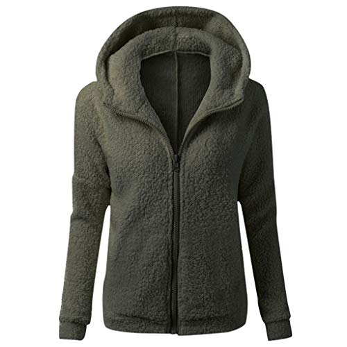 DNOQN Sweatmantel Wollstrickjacken Grobstrickjacke Kapuzenshirt Damen Mit Kapuze Sweatshirt Mantel Winter Warm Wolle Reißverschluss Mantel Baumwolle Mantel Outwear