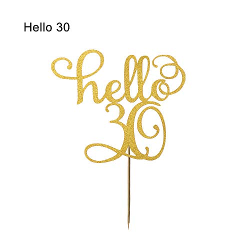 Fashion Anniversary Party Birthday Gifts Wedding Supplies Cake Topper Letter Number Gold Glitter Hello 21/30/40/50/60