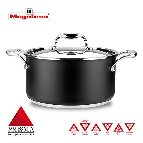 Cacerola MAGEFESA Prisma – Cacerola Fabricado en Acero Inoxidable 18/10, Compatible con Todo Tipo de Cocina, INDUCCIÓN. Fácil Limpieza. Apto para lavavajillas y Horno. (Cacerola, 24_cm)